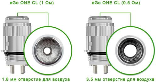 Диаметр отверстий в испарителях Joyetech eGo ONE CL 0.5 Ом / 1 Ом