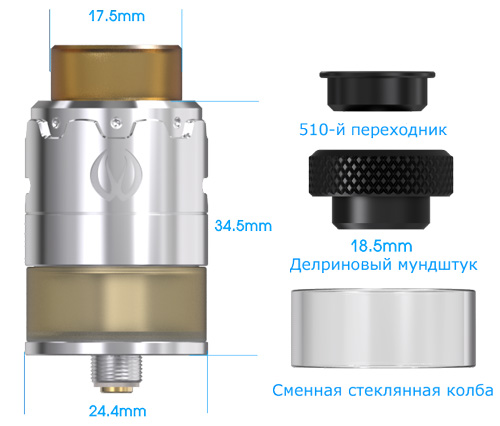 Vandy Vape Pulse 22 BF RDA размеры
